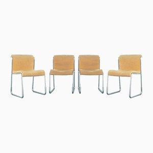 Vintage Steel & Alcantara Dining Chairs, 1970s, Set of 4