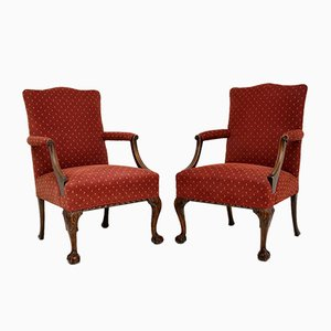Antique Mahogany Chippendale Style Armchairs, Set of 2