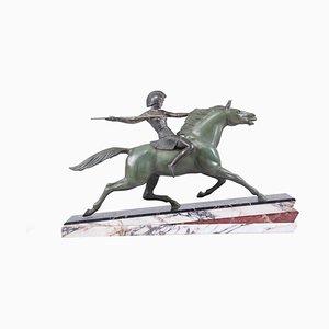 Art Deco Skulptur Gladiator auf Pferd, Paris Gießerei, 1930