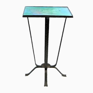 Turquise Enameled Ceramic and Wrought Iron Flower Stand, 1970s