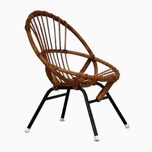 Rattan Children's Chair by Rohé Noordwolde, 1960s