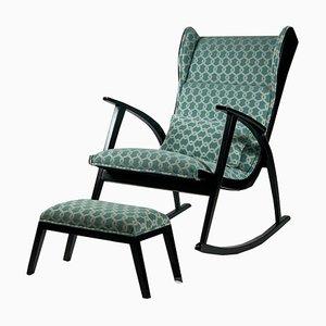 Rocking Chair Rembourrée avec Tabouret par Walter Knoll pour Walter Knoll / Wilhelm Knoll, 1950s, Set de 2