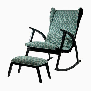 Upholstered Rocking Chair with Stool by Walter Knoll for Walter Knoll / Wilhelm Knoll, 1950s, Set of 2