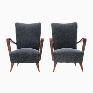 Italian Wooden Armchairs, 1940s, Set of 2