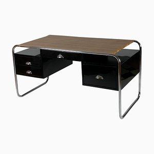 Vintage Lacquered Black Desk, 1950s