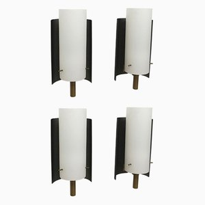 Italian Frosted Glass, Brass & Black Enamel Metal Wall Sconces, 1970s, Set of 4