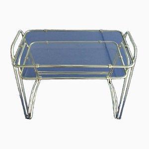 Tavolini ad incastro in ottone e vetro, anni '50, set di 2