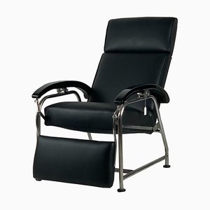 Bauhaus Black Leather Lounge Chair, 1930s