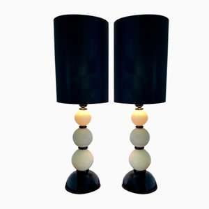 Murano Black and Ivory Glass Table Lamps, 2000s, Set of 2