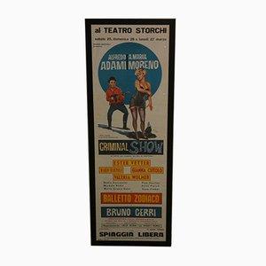 Affiche de Théâtre Criminal par De Amicis pour Giustini, 1961