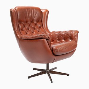 Vintage Red Leather Swivel Chair