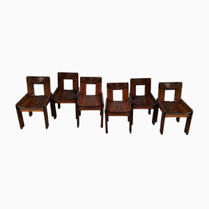 Pine Dining Chairs, 1980s, Set of 6