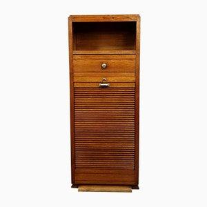 Small Art Deco Solid Oak Filing Cabinet, 1940s