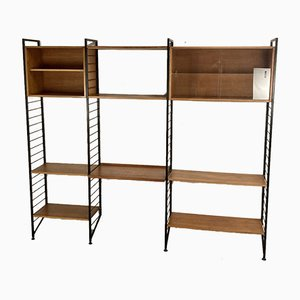 Modular Wall Leaning Teak & Metal Ladderax Storage Shelving Unit by Robert Heals for Staples, UK, 1960s