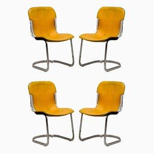 Sillas de comedor Cidue de cuero amarillo con detalles cromados de Willy Rizzo para Cidue, años 70. Juego de 4