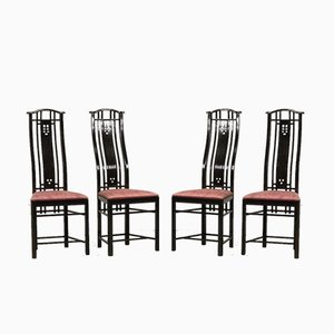 High Back Black Lacquered Dining Chairs with Fabric from Giorgetti, 1980s, Set of 4