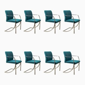 Prio Dining Chairs in Ocean Blue Fabric on Chrome Frames by Jan Armgardt for Casala, 1980s, Set of 8