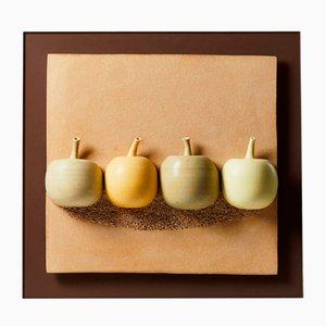 Four Apples Ceramic Relief by Vivi Calissendorff, Sweden, 2012