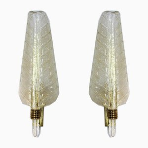 Large Murano 24kt Gold Flaked Glass Leaf Sconces from Barovier & Toso, Set of 2