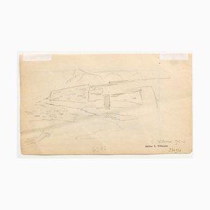 Louis-Charles Willaume, Landschaft, Original Bleistift auf Papier, 1905