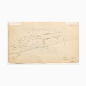 Louis-Charles Willaume, Paesaggio, matita originale su carta, 1905