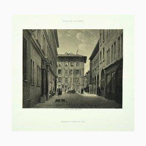 Antonio Fontanesi, Interieur de Genève, 1850s, Lithograph