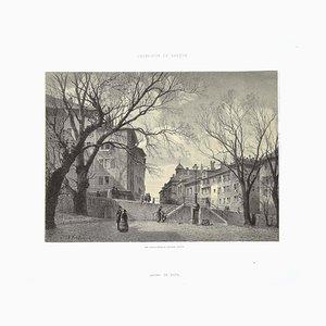 Antonio Fontanesi, Innenraum Genf Bourg De Four, 1854, Lithographie