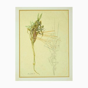 Leo Guida, Composition, 1972, Original Ink and Watercolor on Paper