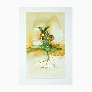 Leo Guida, Composition, 1971, Original Ink and Watercolor on Paper