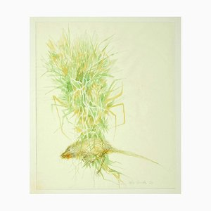 Leo Guida, Flowers Composition, 1971, Original Ink and Watercolor on Paper