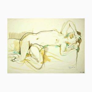 Leo Guida, Akt der Frau, Original Tinte und Wasserfarbe auf Papier, 1985