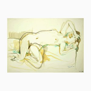 Leo Guida, Nude of Woman, Original Ink and Watercolor on Paper, 1985