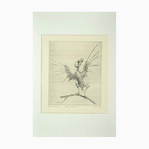 Leo Guida, pájaro en la rama, aguafuerte original sobre papel, 1972