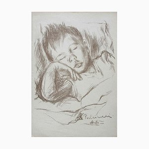 Silvano Pulcinelli, Sleeping Boy, Original Pencil Carbon, 1946
