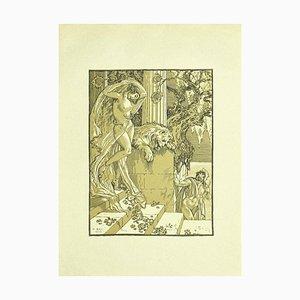 Ferdinand Bac, Weiblicher Akt Liberty, Original Lithographie, 1922