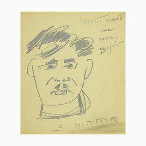 Silvano Bozzolini, der Diktator, Original Bleistift auf Papier, Mitte 20. Jahrhundert