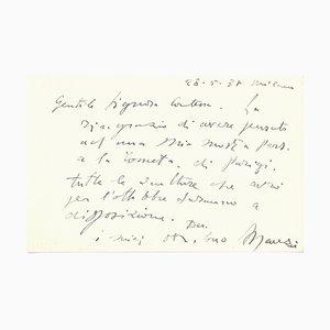 Giacomo Manzú to the Countess Pecci-Blunt, Original Card, 1937