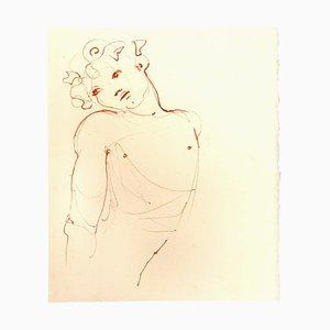 Leonor Fini, Büste, Original Lithographie auf Karton, Mitte 20. Jahrhundert