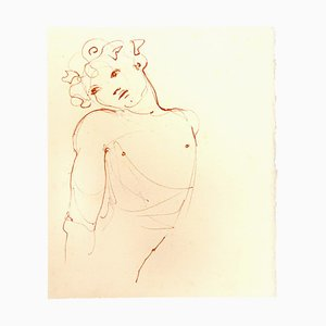 Leonor Fini, Bust, Original Lithograph on Cardboard, Mid-20th Century