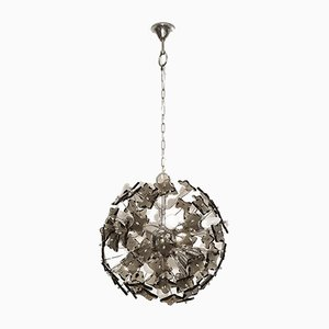 Mid-Century Sputnik Modern Smoked Glass and Chrome Chandelier from Fontana Arte, 1960s