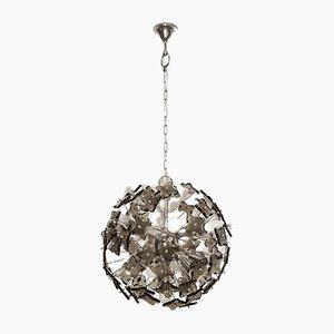 Moderner Mid-Century Sputnik Kronleuchter aus Rauchglas & Chrom von Fontana Arte, 1960er