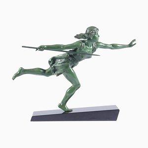 Emile Joseph Carlier, la cacciatrice, 1920, Art Deco Sculpture