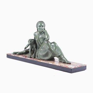 Armand Godard, Lady und Panther, 1930, Art-Deco-Skulptur