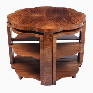 Art Deco Walnut Nesting Tables, 1930s, Set of 5