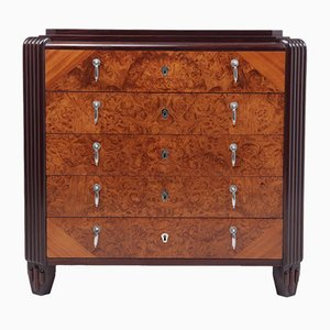 Art Deco Burr, Walnut & Silver Chest of Drawers from Orfevrerie Christofle, 1930s