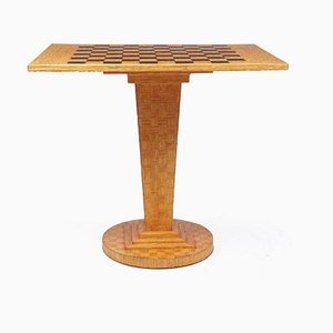Art Deco Chess Table in Straw, 1930s