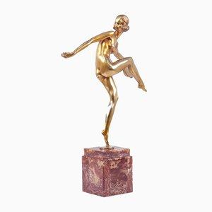 Feguays, Danseuse Tamborine, 1925, Sculpture Art Déco En Bronze Doré
