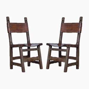 Spanish Style Medival Dining Chairs, 1970s, Set of 2