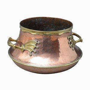 Großes viktorianisches Gefäß aus Messing & Kupfer