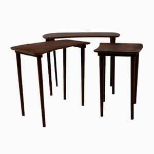 Tables Gigognes en Teck en Forme de Rognon, Danemark, 1960s, Set de 3
